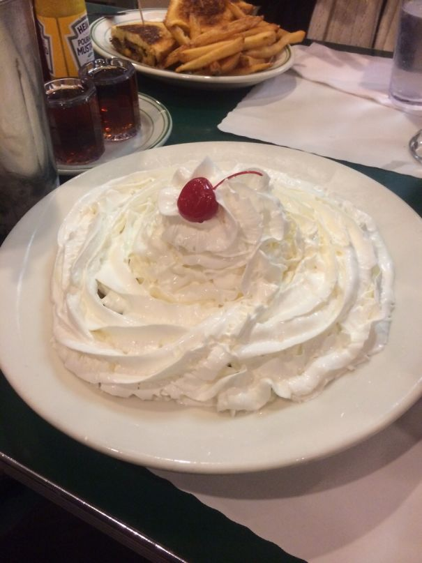 I Ordered A Waffle At Mel's And Said They Couldn't Put Enough Whipping Cream On It