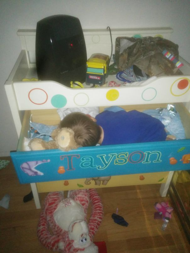 My Wife And I Were Just Talking About How Our Son Had Never Fell Asleep In An Odd Place. I Think He Wanted To Prove Us Wrong