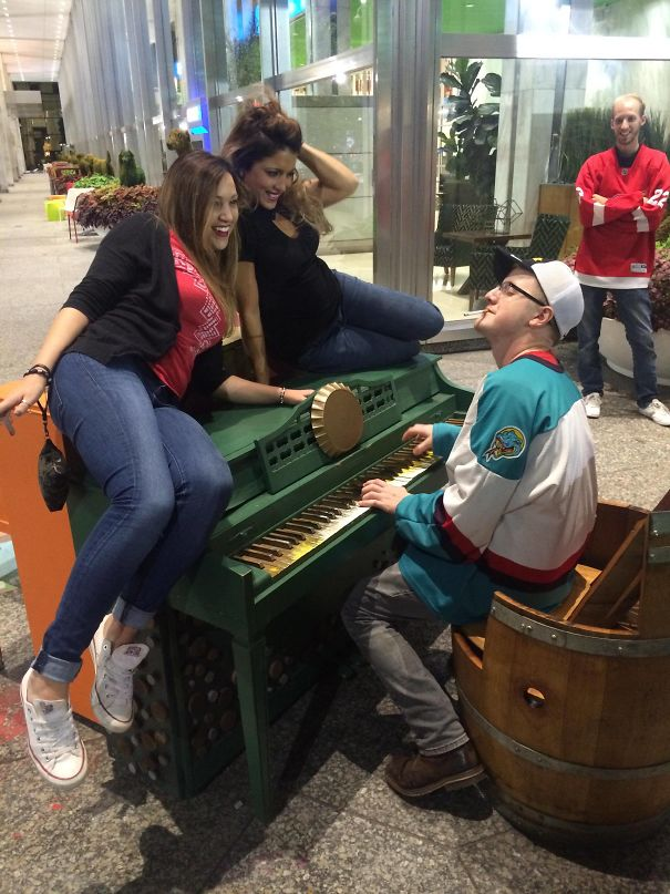 I Got Drunk At A Red Wings Game And Woke Up To This Picture On My Phone. I'm The One Playing The Piano