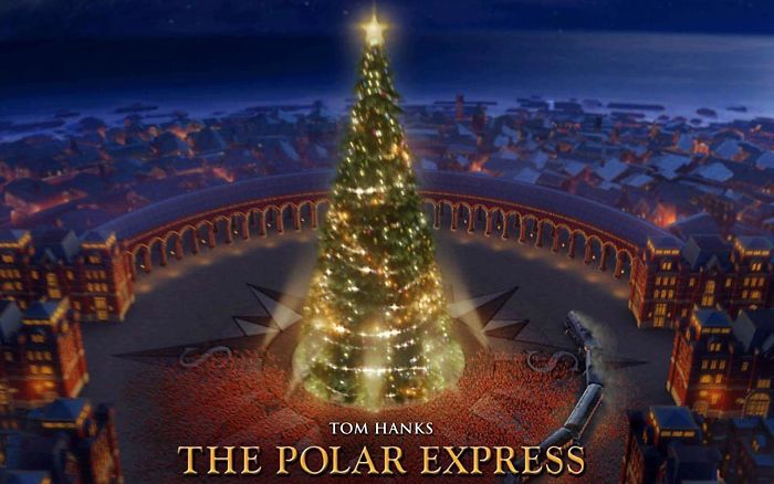 The Christmas Tree From The Polar Express Is At The North Pole. It Sits On A Compass That Points South In All Directions