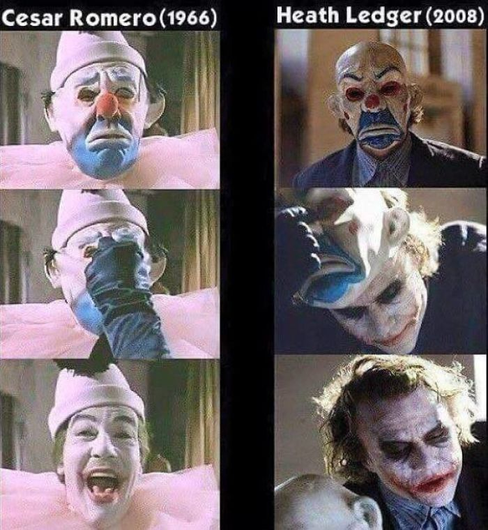 Heath Ledger's Joker From The Dark Knight Wears A Mask Similar To The One Worn By Cesar Romero's Joker In His Introductory Appearance In The 1960's Tv Show Batman