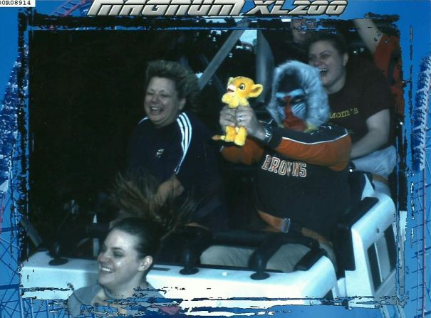 Every Year My Friend Does A 'Silly Picture While On A Roller Coaster'. This Year Was By Far His Best
