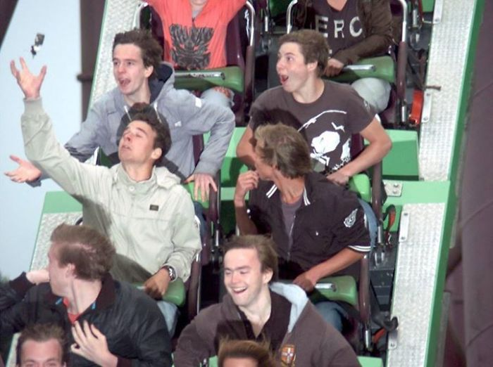 A Friend (Front Left) Lost His Keys In A Rollercoaster At The Perfect Moment. Far Left Caught It Mid Air