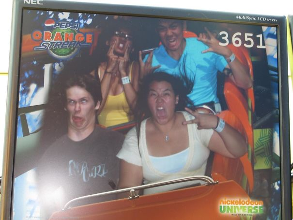 Girlfriend Told Me To Do Something For The Camera On The Roller Coaster. (Bottom Left Is Me)