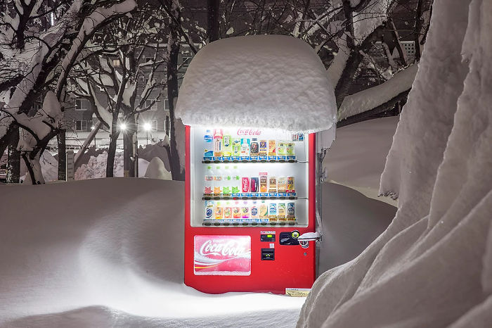 A Japanese Coke Machine In The Snow