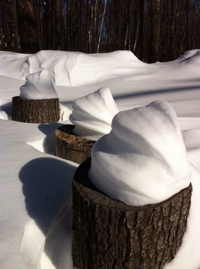 These Cool Snow Swirls On Logs That Look Like Ice Cream