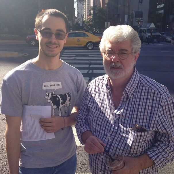 Friend Of Mine Ran Into George Lucas In Chicago Today. His Shirt Was Too Perfect