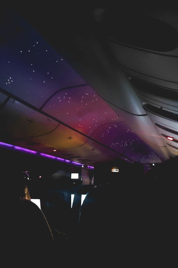 The Simulated Night Sky On A Red Eye Flight