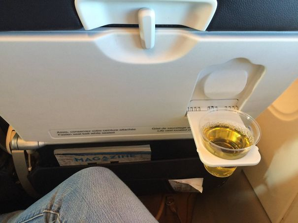 My Airfrance Flight Had A Cup Holder On The Outside Of The Tray So You Can Have More Space And Enjoy Your Beverage