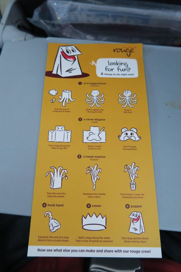 The Flight I Took Yesterday Had An Instruction Card On Making Crafts With The Barf Bag