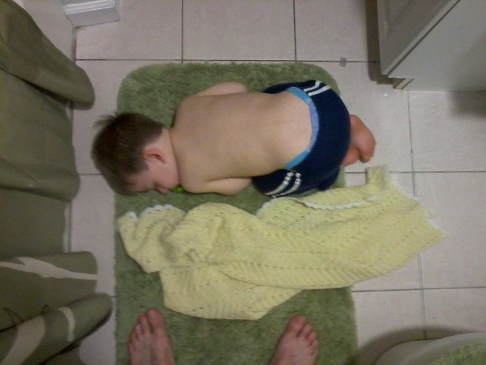 Took A Shower After Putting My Son To Bed. Almost Stepped On Him When I Got Out