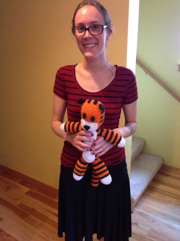 Accidental Cosplay. My Roommate Walked Downstairs And I Asked Her To Hold My Hobbes. She Didn't Get Why
