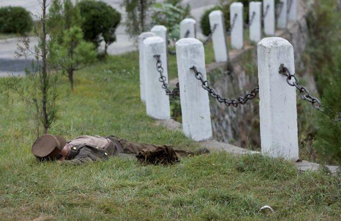 Soldado durmiendo en el campo