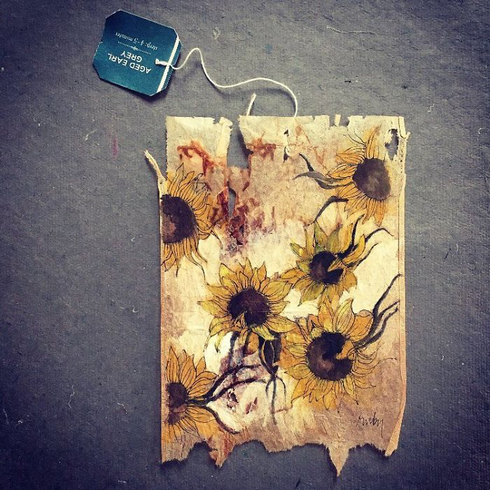 """Artist Makes Incredible Mini Paintings In Tea Bags And The Result Is A """"Big"""" Work Of Art"""