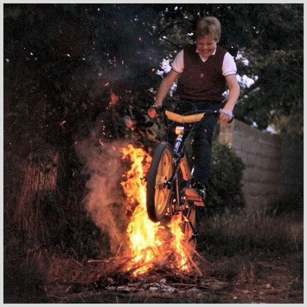Me On My Tuff Burner In The Early 80s. We Made The Fire Bigger And Used A Small Ramp In The End.