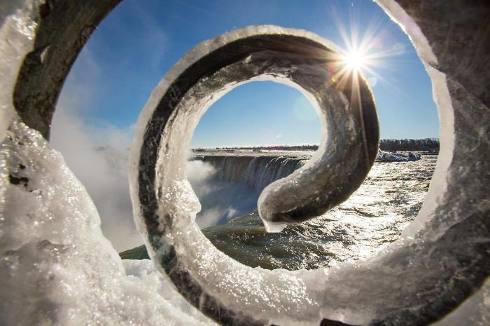 One Last Photo From My Recent Visit At Niagara Falls. It's A Place I Enjoyed Visiting, I Went Under The Falls, Spent Time With The Butterflies And Visited The Indoor Flower Garden While Of Course Walking Along The Seawall Of The Falls! I'm Always Looking For Something Different To Capture And This Is The One Shot I Preferred The 3 Elements Of Ice Water And The Sun Completed The Composition. Hope You Like It. ?