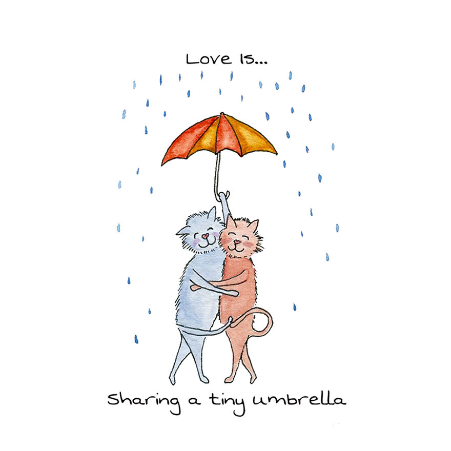Love Is Sharing A Tiny Umbrella
