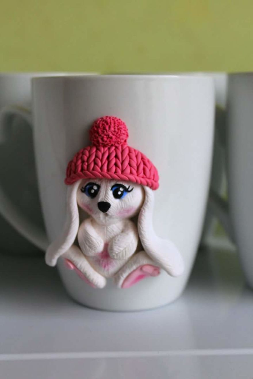 I Create Beautiful And Cute Polymer Clay Decorated Mugs