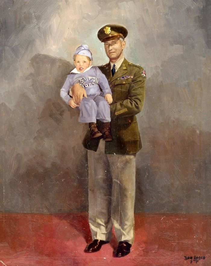 Me And General Mark W. Clark, Famed For His Role In Helping The Allies Overcome The German Wehrmacht In Ww2…i Was 3 And The Painting Was A Hand-Enhanced B&w Photograph Taken At The Presidio In Sfo (1949)