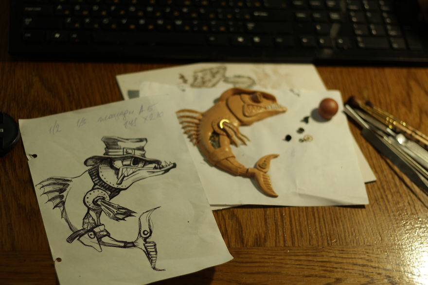 Ring In The Steampunk Decor To Pimp Up Your Home: Notepad With A Cowboy Fish In Steampunk Style