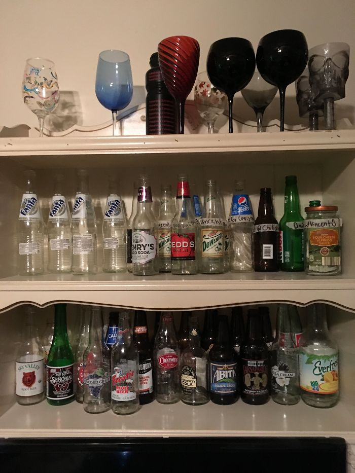 I Collect Glass Bottles And Wine Glasses.