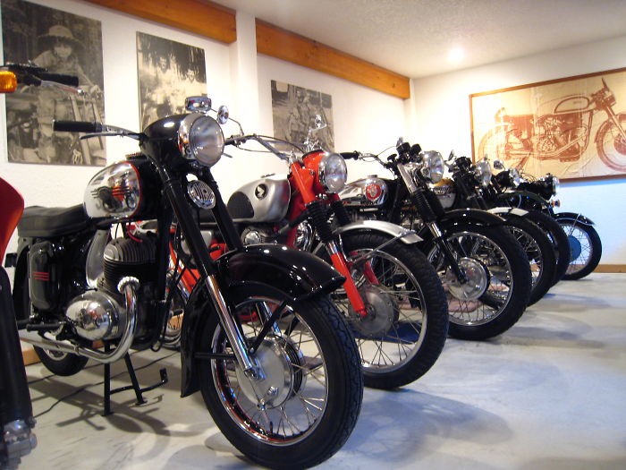 We Collect Vintage Motorcycles And Ephemera – This Is Just A Small Corner Of Our Shop That Currently Holds About 30 Bikes From 1925 Through Modern Era.