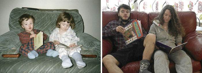 My Brother And I Recreated Our Childhood Photos For Our Parent's 30th Anniversary