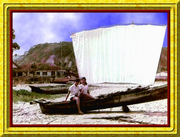 Me And My Sister, 1962, Caraguatatuba, Brazil (Manually Colored Photo)