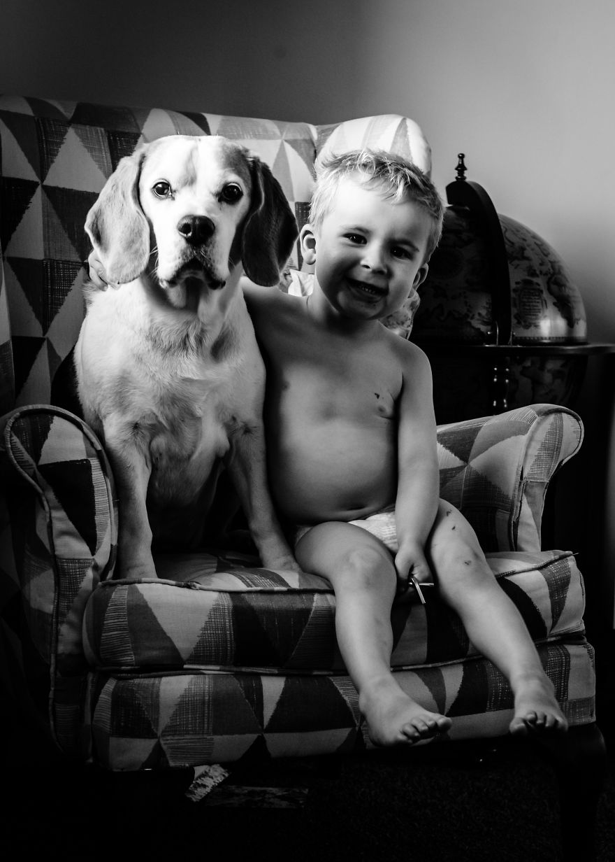 I've Taken A Picture Of My Son And Beagle Every Month For The Last Three Years In The Same Chair