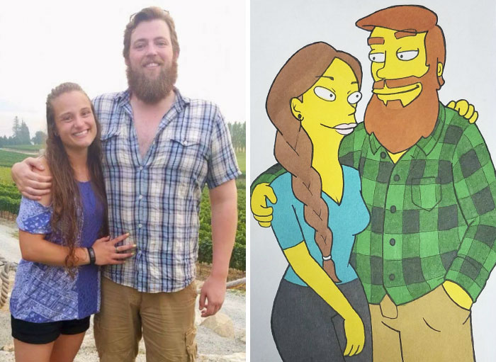 Boyfriend Surprises His Girlfriend By Drawing Her In 10 Different Cartoon Styles, And It Melts Her Heart