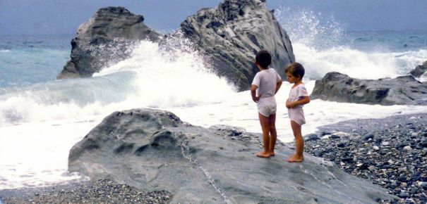Me And My Sister Taking A Break From Playing With The Waves. Pelion, Greece, 1986