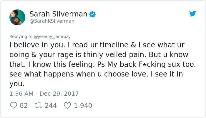 fee30cd8ed5 Sexist Troll Attacks Sarah Silverman On Twitter, And Her Unexpected ...