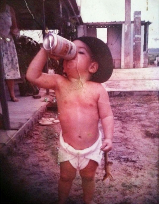 Me Back In 1991. Just Your Typical Aussie Kid Drinking Xxxxlight Beer(I Wasn't Aloud Heavies Back Then) And Holding A Baby Crocodile