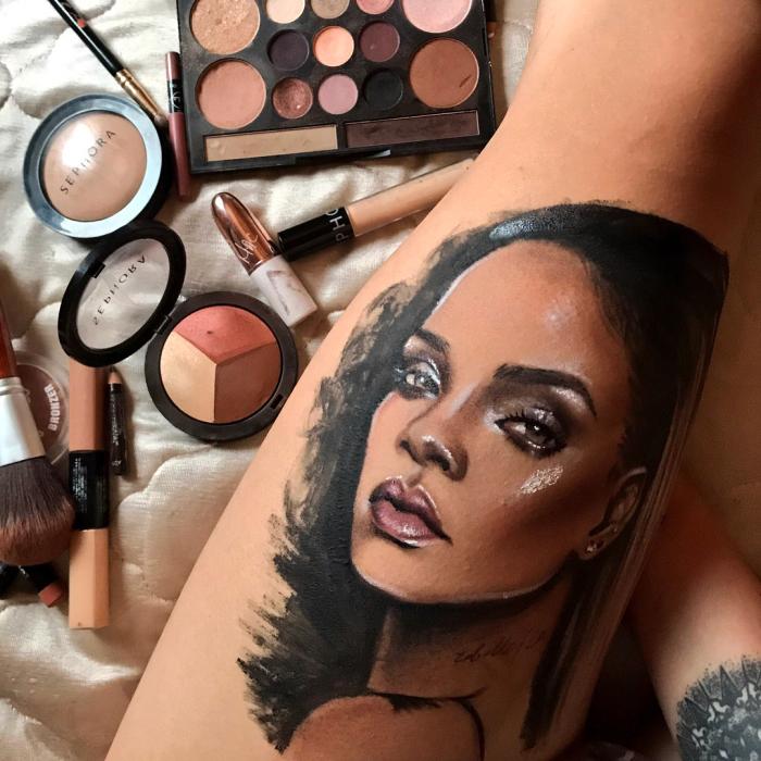 This Tattoo Artist Makes Portraits Of Rihanna Using The Makeup Line 'Fenty Beauty'