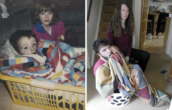 My Brother And I Recreated Our Childhood Photos For Our Parents' 30th Anniversary