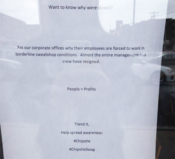 The Chipotle In Downtown State College Is Closed After Employees Left This Note About Sweatshops