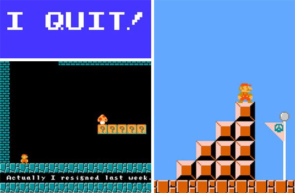 "A Computer Programmer Created His Own Version Of Super Mario, With An ""I Quit!"" Message And Sent It Around His Office"