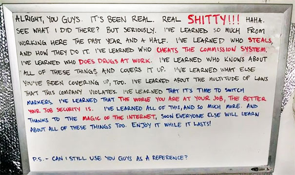 A Friend Posted His Resignation White Board