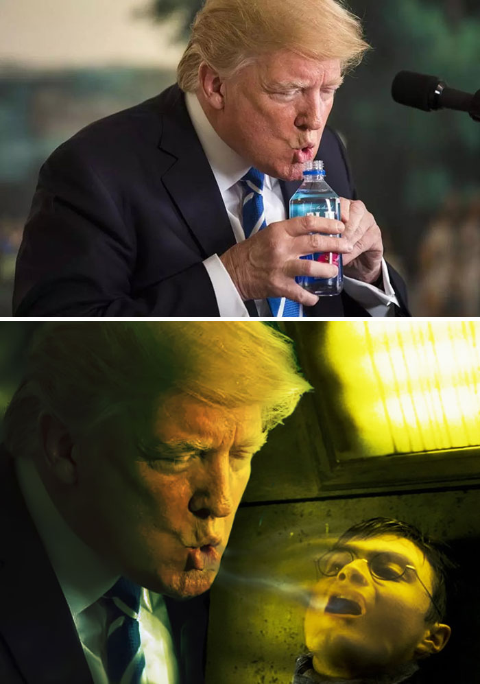 Trump Drinking Water