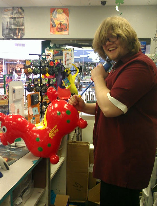 I Work At A Game/Toy Store. We Got These New Inflatable Horses Kids Can Ride. This Is How You Inflate Them