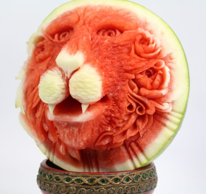 It Took 2 Hours To Turn This Watermelon Into A Lion