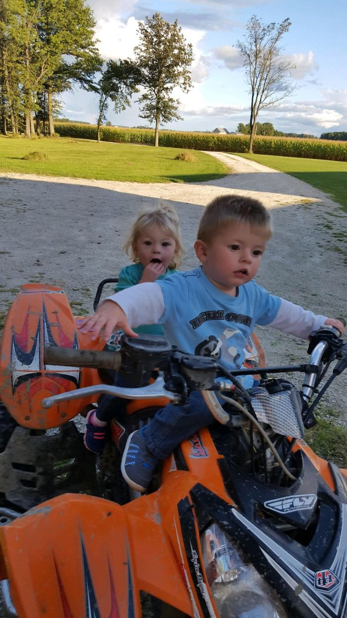 My Baby Sibs Riding A Four Wheeler… Not Actually Moving