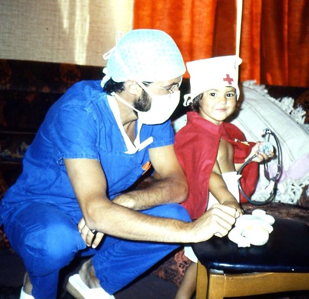 '83 Me & Dad, A Male Nurse. I Grew Up To Be A Doctor. We Don't Conform To Gender Stereotypes!