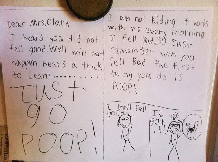 My Friends Little Son Gave His Teacher A Get Well Card