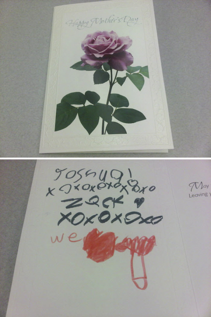 My Co-Worker Got A Nice Card For Mother's Day. Her Kids Had Some Trouble Drawing A Pointing Hand Though...