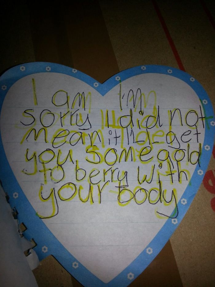 An Apology Card From A Kid. I Don't Know What To Think