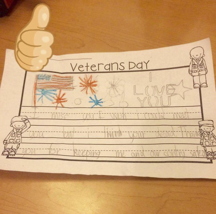 My Bf's Brother Was In The Military And He Got This Card From A Kid For Veteran's Day Today