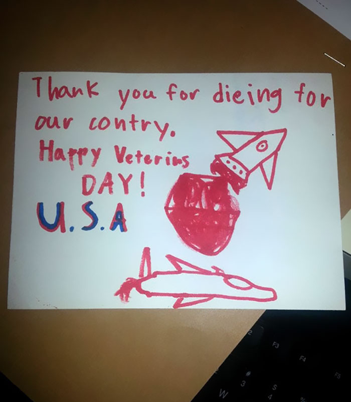 """My Wife Works At The Va Where School Kids Dropped Off Cards. The Elderly Vet That Got This One Responded: """"I'm Not Dead Yet!"""""""