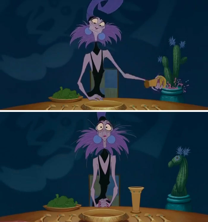 The Cactus Turns Into A Lama After Yzma Pours Her Drink Into It