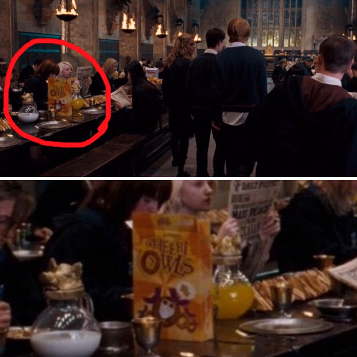 """In Harry Potter, Background Students Can Be Seen Eating Parodies Of Real World Cereal Brands, Such As """"Cheeri-Owls"""""""